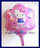 Happy Birthday mit Hello Kitty, Folien-Luftballon mit Helium zum Geburtstag