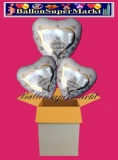 3 Luftballons mit Helium zur Hochzeit, Wedding Wishes mit Hochzeitstauben im Herz, Glückwünsche, Folien-Luftballons
