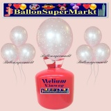 Luftballons Helium Einweg Set, silberne Luftballons, 25, Silberhochzeit