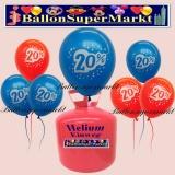 Luftballons Helium Einweg Set, bunte Luftballons, 20 Prozent Rabatt