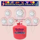 Luftballons Helium Einweg Set, silberne Luftballons, 25 im Lorbeerkranz, Silberhochzeit