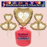 Helium-Set mit Folien-Luftballons, Goldene Hochzeit, 50, Hochzeitstauben