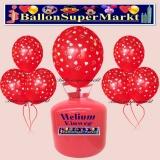 Luftballons Helium Einweg Set, Hochzeit, Rote Luftballons, mit weißen Herzen, 30 Stück