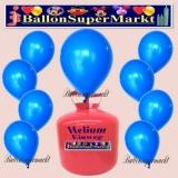 Luftballons Helium Einweg Set, Rundballons, Blau, 30 Stück