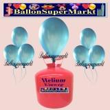 Luftballons Helium Einweg Set, Rundballons, Metallicfarben, Blau, 30 Stück