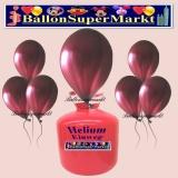 Luftballons Helium Einweg Set, Rundballons, Metallicfarben, Burgund, 30 Stück