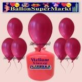 Luftballons Helium Einweg Set, Rundballons, Metallicfarben, Dunkelrosa, 30 Stück