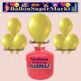 Luftballons Helium Einweg Set, Rundballons, Metallicfarben, Gelb, 30 Stück