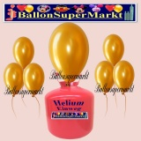 Luftballons Helium Einweg Set, Rundballons, Metallicfarben, Gold, 30 Stück