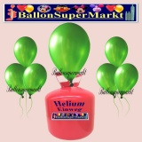 Luftballons Helium Einweg Set, Rundballons, Metallicfarben, Grün, 30 Stück