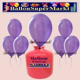 Luftballons Helium Einweg Set, Rundballons, Metallicfarben, Lila, 30 Stück