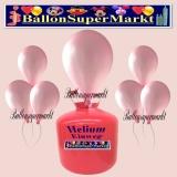 Luftballons Helium Einweg Set, Rundballons, Metallicfarben, Rosa, 30 Stück
