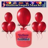 Luftballons Helium Einweg Set, Rundballons, Metallicfarben, Rot, 30 Stück