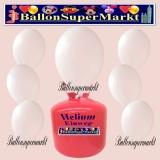 Luftballons Helium Einweg Set, Rundballons, Metallicfarben, Weiß, 30 Stück