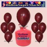 Luftballons Helium Einweg Set, Rundballons, Burgund, 30 Stück