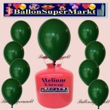 Luftballons Helium Einweg Set, Rundballons, Dunkelgrün, 30 Stück