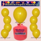 Luftballons Helium Einweg Set, Rundballons, Gelb, 30 Stück