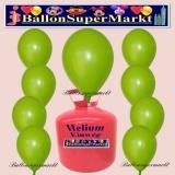 Luftballons Helium Einweg Set, Rundballons, Grün, 30 Stück