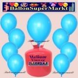 Luftballons Helium Einweg Set, Rundballons, Himmelblau, 30 Stück