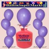 Luftballons Helium Einweg Set, Rundballons, Lila, 30 Stück