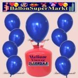 Luftballons Helium Einweg Set, Rundballons, Marineblau, 30 Stück