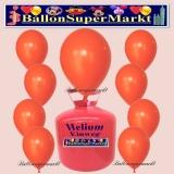 Luftballons Helium Einweg Set, Rundballons, Orange, 30 Stück