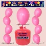 Luftballons Helium Einweg Set, Rundballons, Rosa, 30 Stück