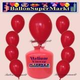 Luftballons Helium Einweg Set, Rundballons, Rot, 30 Stück