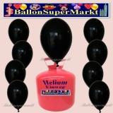 Luftballons Helium Einweg Set, Rundballons, Schwarz, 30 Stück