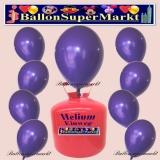 Luftballons Helium Einweg Set, Rundballons, Violett, 30 Stück