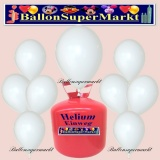 Luftballons Helium Einweg Set, Rundballons, Weiß, 30 Stück