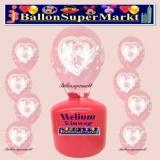 Luftballons Helium Einweg Set, Hochzeit, Rund mit Tauben, Transparent, 30 Stück