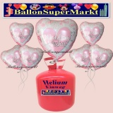 Helium-Set mit Folien-Luftballons, Wedding Wishes, Pink