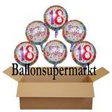 Geburtstagsgeschenk, Luftballons mit Helium im Karton, Radiant-Birthday, 18. Geburtstag