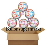 Geburtstagsgeschenk, Luftballons mit Helium im Karton, Radiant-Birthday, 30. Geburtstag