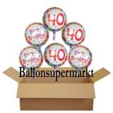 Geburtstagsgeschenk, Luftballons mit Helium im Karton, Radiant-Birthday, 40. Geburtstag