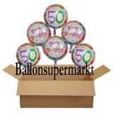 Geburtstagsgeschenk, Luftballons mit Helium im Karton, Radiant-Birthday, 50. Geburtstag