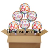 Geburtstagsgeschenk, Luftballons mit Helium im Karton, Radiant-Birthday, 60. Geburtstag