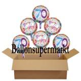Geburtstagsgeschenk, Luftballons mit Helium im Karton, Radiant-Birthday, 70. Geburtstag