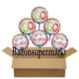 Geburtstagsgeschenk, Luftballons mit Helium im Karton, Radiant-Birthday, 80. Geburtstag