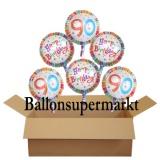 Geburtstagsgeschenk, Luftballons mit Helium im Karton, Radiant-Birthday, 90. Geburtstag