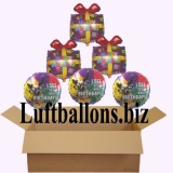Geburtstagsgeschenk, Luftballons mit Helium im Karton, Happy Birthday, I see it's your birthday
