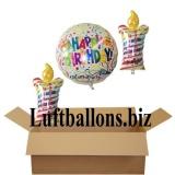 Geburtstagsgeschenk, Luftballons mit Helium im Karton, Happy Birthday, Geburtstagskerzen