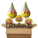 Geburtstagsgeschenk, Luftballons mit Helium im Karton, Happy Birthday, Smiley