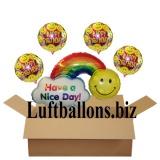 Geburtstagsgeschenk, Luftballons mit Helium im Karton, Happy Birthday, Have a Nice Day