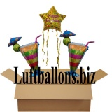 Geburtstagsgeschenk, Luftballons mit Helium im Karton, Happy Birthday Stern, Cocktailgläser