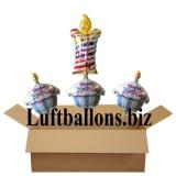 Geburtstagsgeschenk, Luftballons mit Helium im Karton, Happy Birthday Torten und Gegurtstagskerze