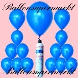 Luftballons Helium Set, Miniflasche, Latex-Luftballons in Blau