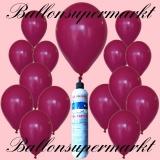 Luftballons Helium Set, Miniflasche, Latex-Luftballone in Dunkelrosa