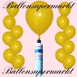 Luftballons Helium Set, Miniflasche, Latex-Luftballons in Gelb